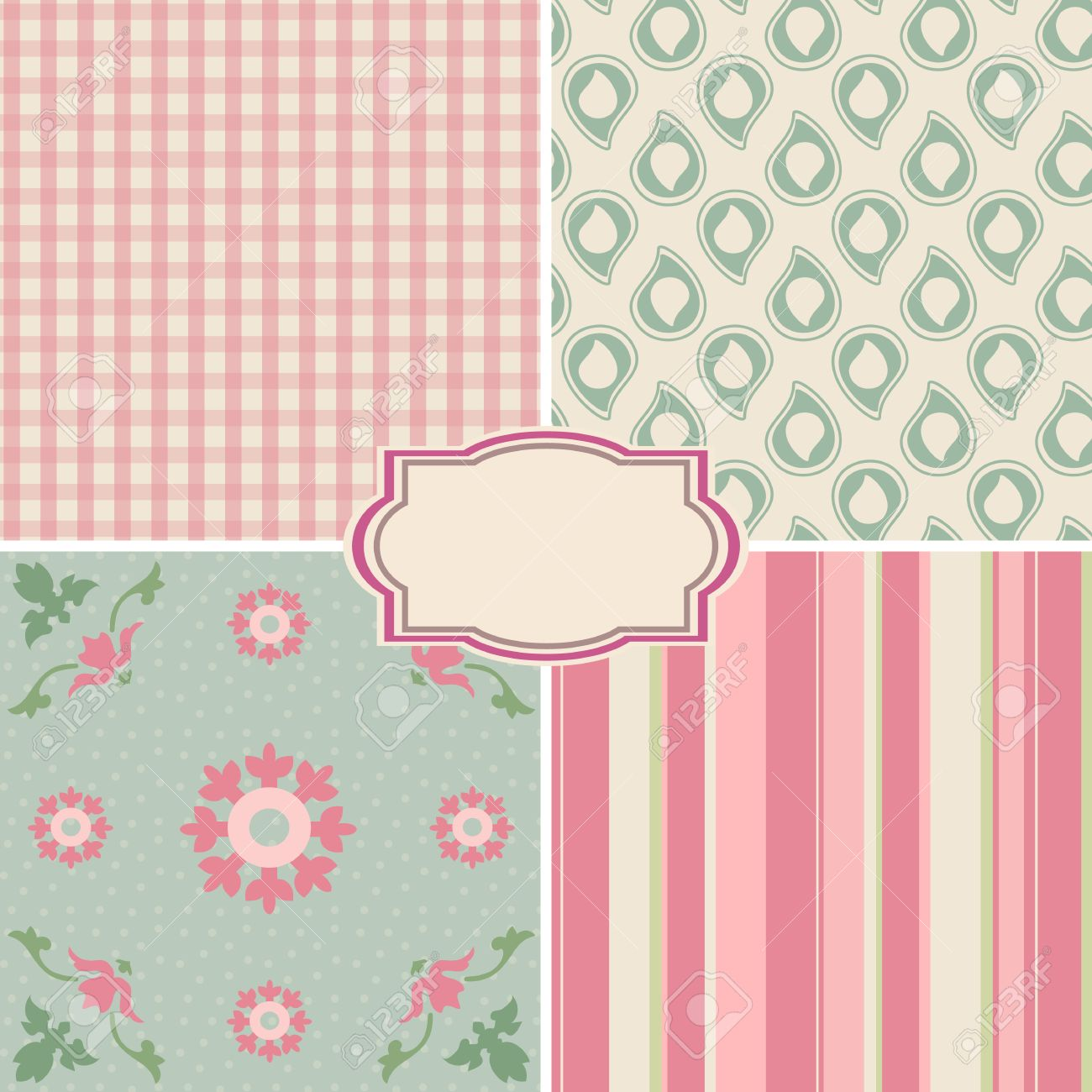 Shabby Chic Rose Patterns and seamless backgrounds Ideal for printing onto fabric and paper or scrap booking - 24193064