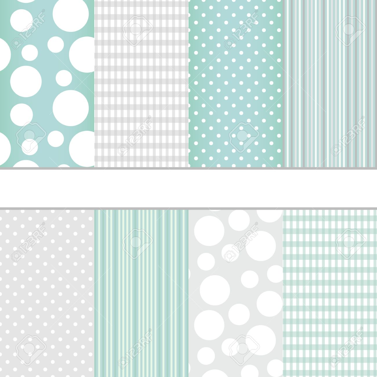 Set of blue pastel and grey jumbo polka dots, gingham and stripes seamless patterns. Vector background - 24756464