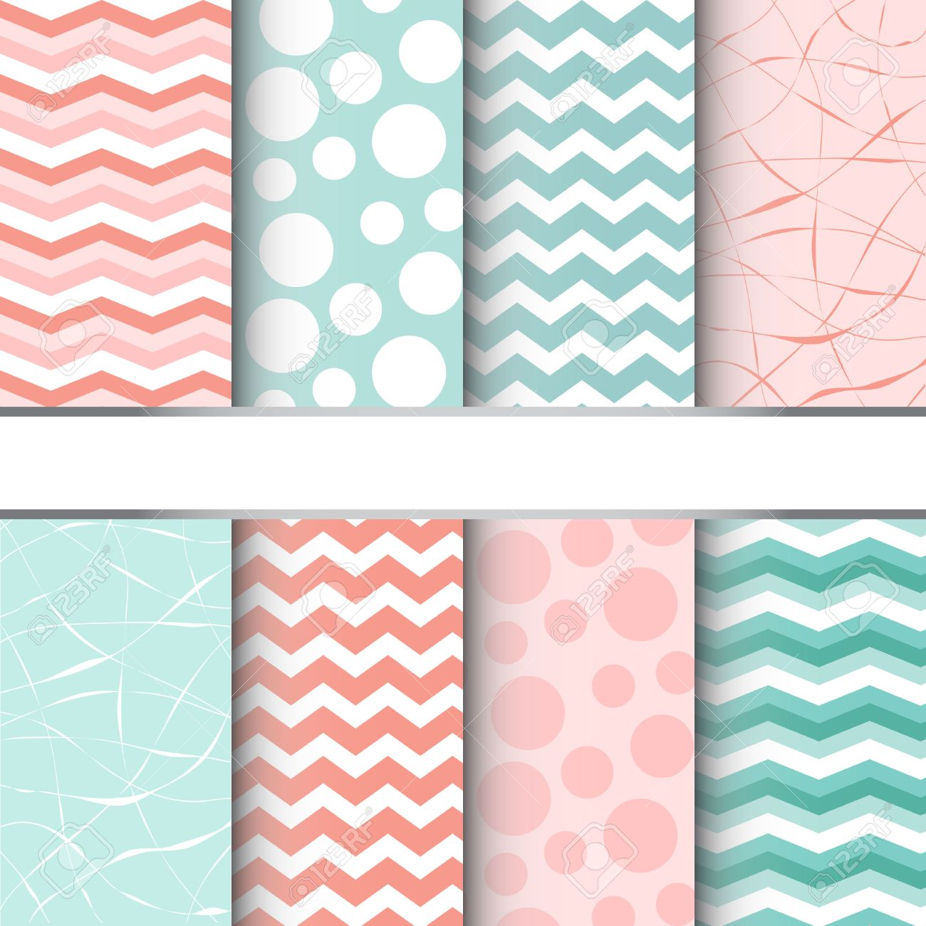 Set of blue pastel and pink jumbo polka dots, gingham and chevron seamless patterns. Vector - 24925786