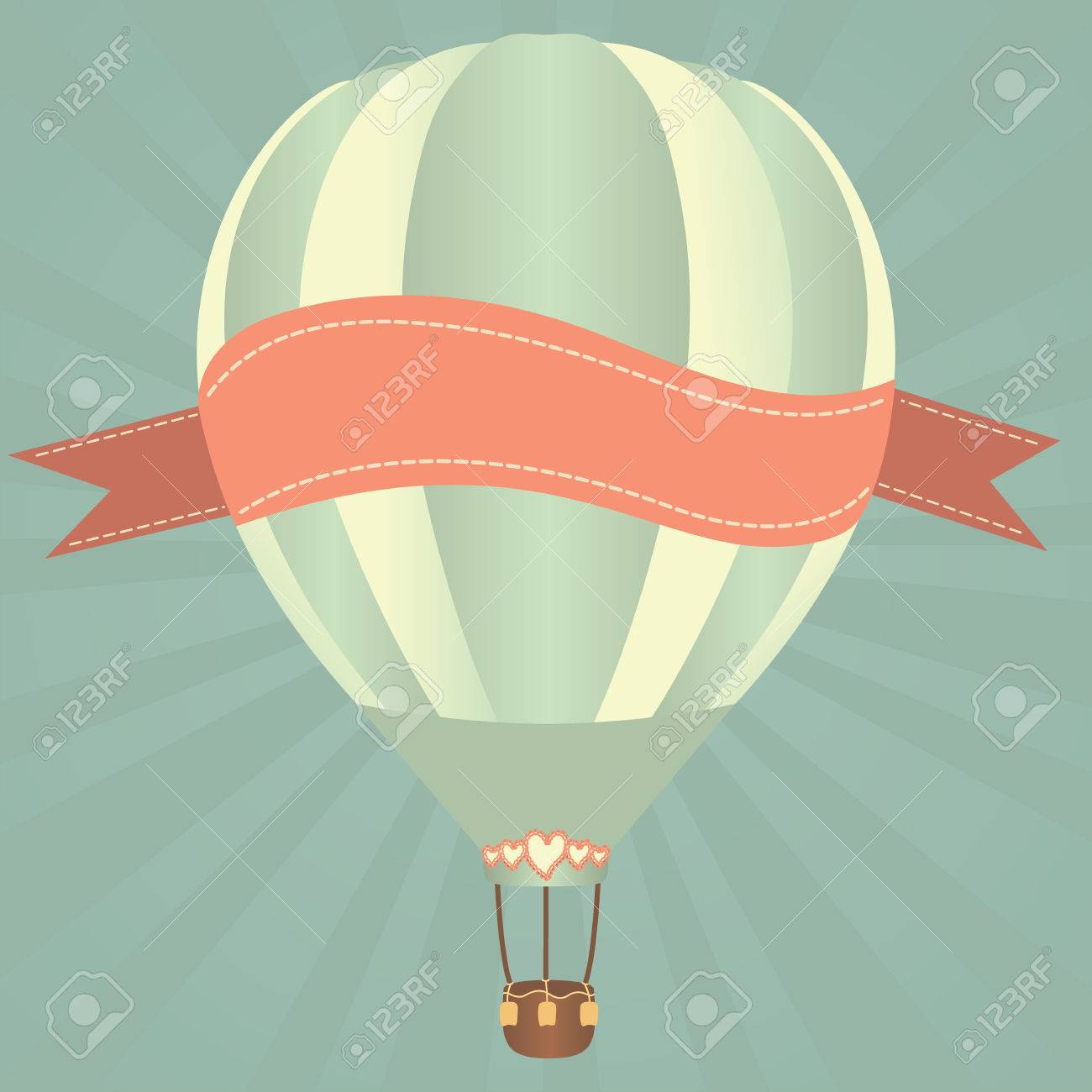 Hot air balloons in the sky. Vector illustration. Greeting card background - 26560579