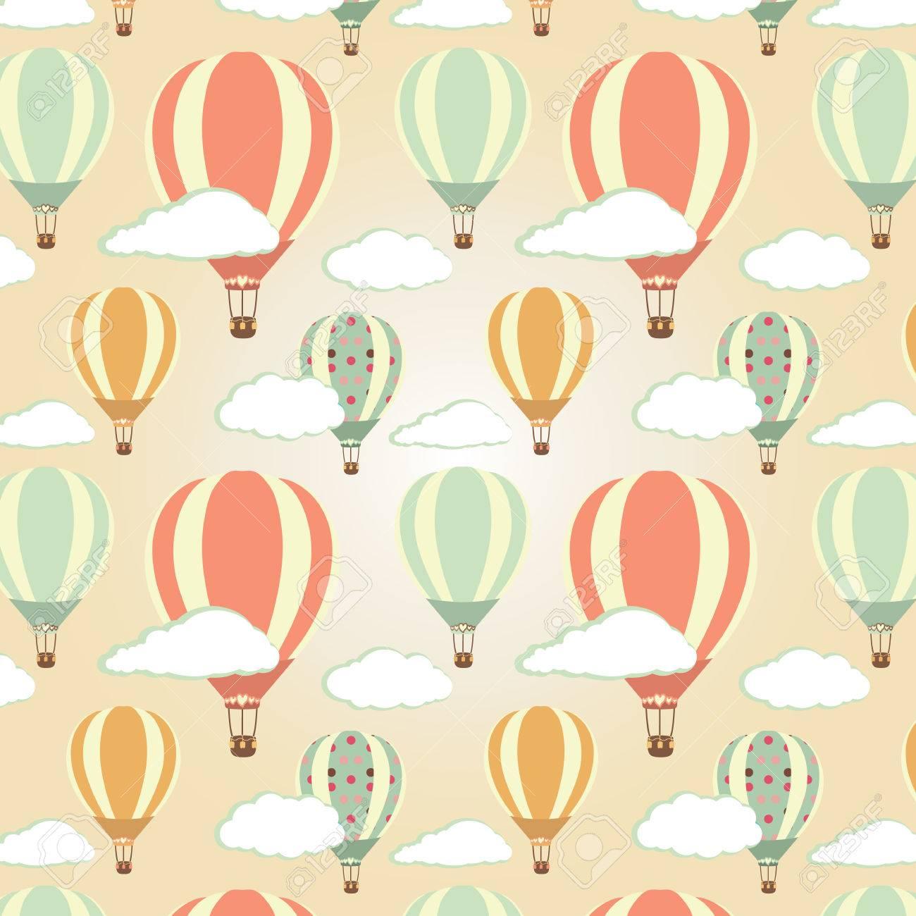 Hot air balloons pattern. Vector illustration - 27536066