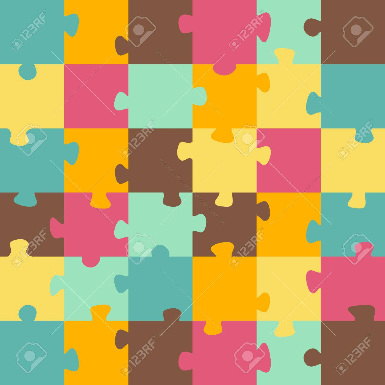 Seamless color puzzles background. Jigsaw puzzle game - 28588373