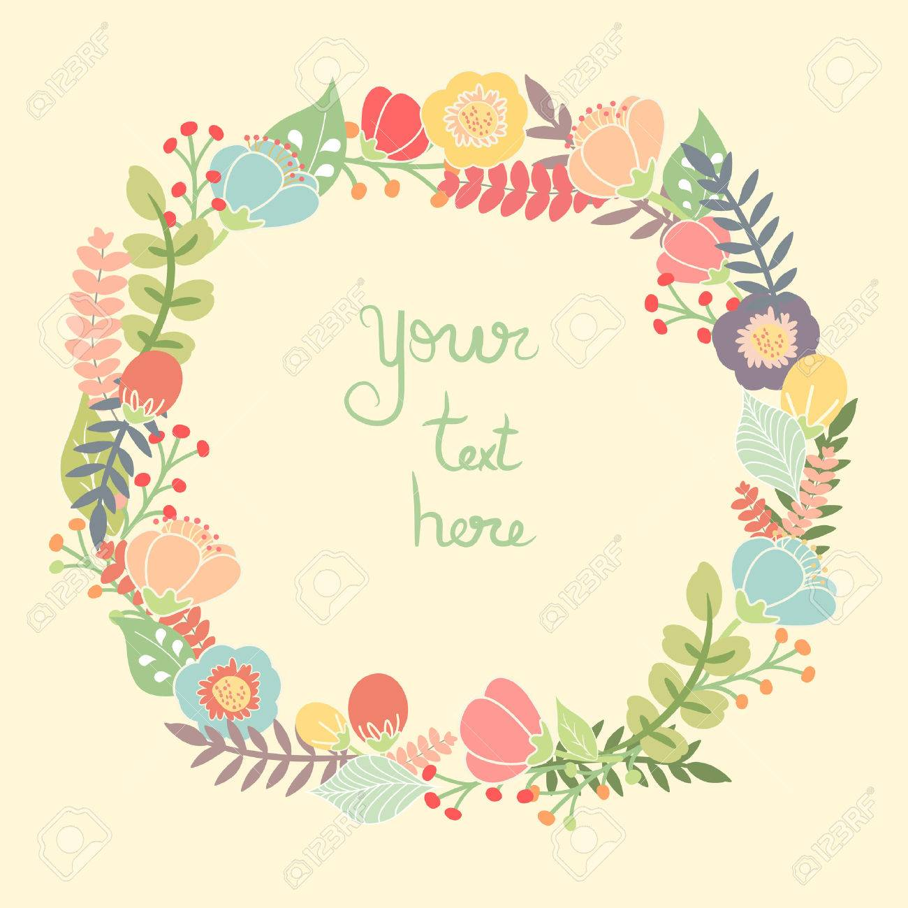 花の花輪を持つ美しいグリーティング カード。明るいイラスト カード、結婚式、誕生日および他の休日とかわいい夏背景の招待状の作成として使用できます。