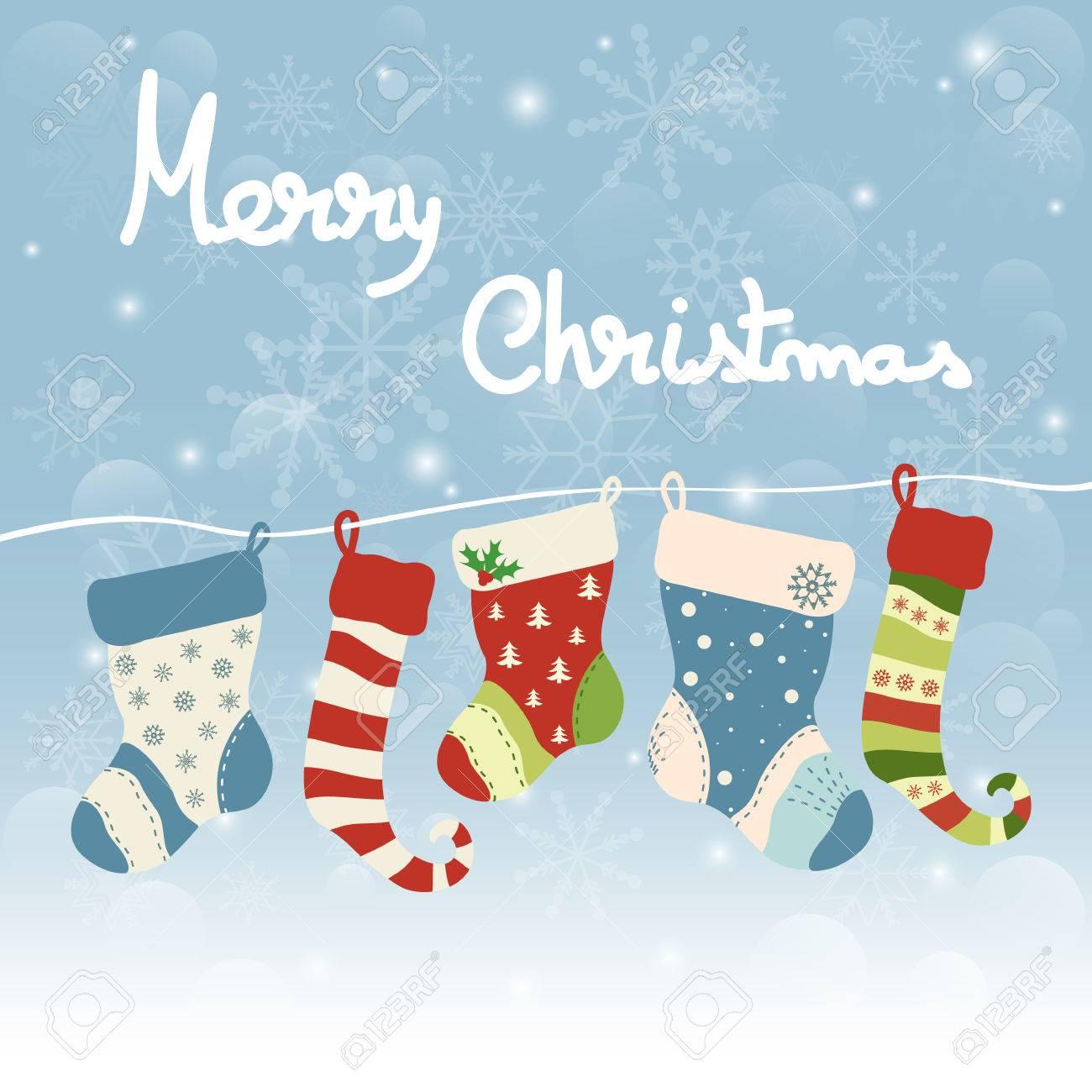 Christmas Greeting Card With Hanging Socks Merry Christmas