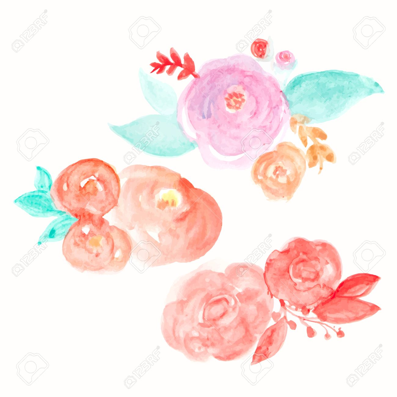 Watercolor Flower Vector Round Flowers Abstract