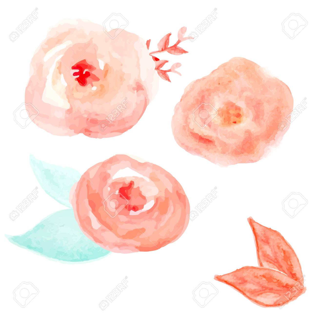 Watercolor Flower Vector. Round Watercolor Flowers. Abstract Flowers - 45817127