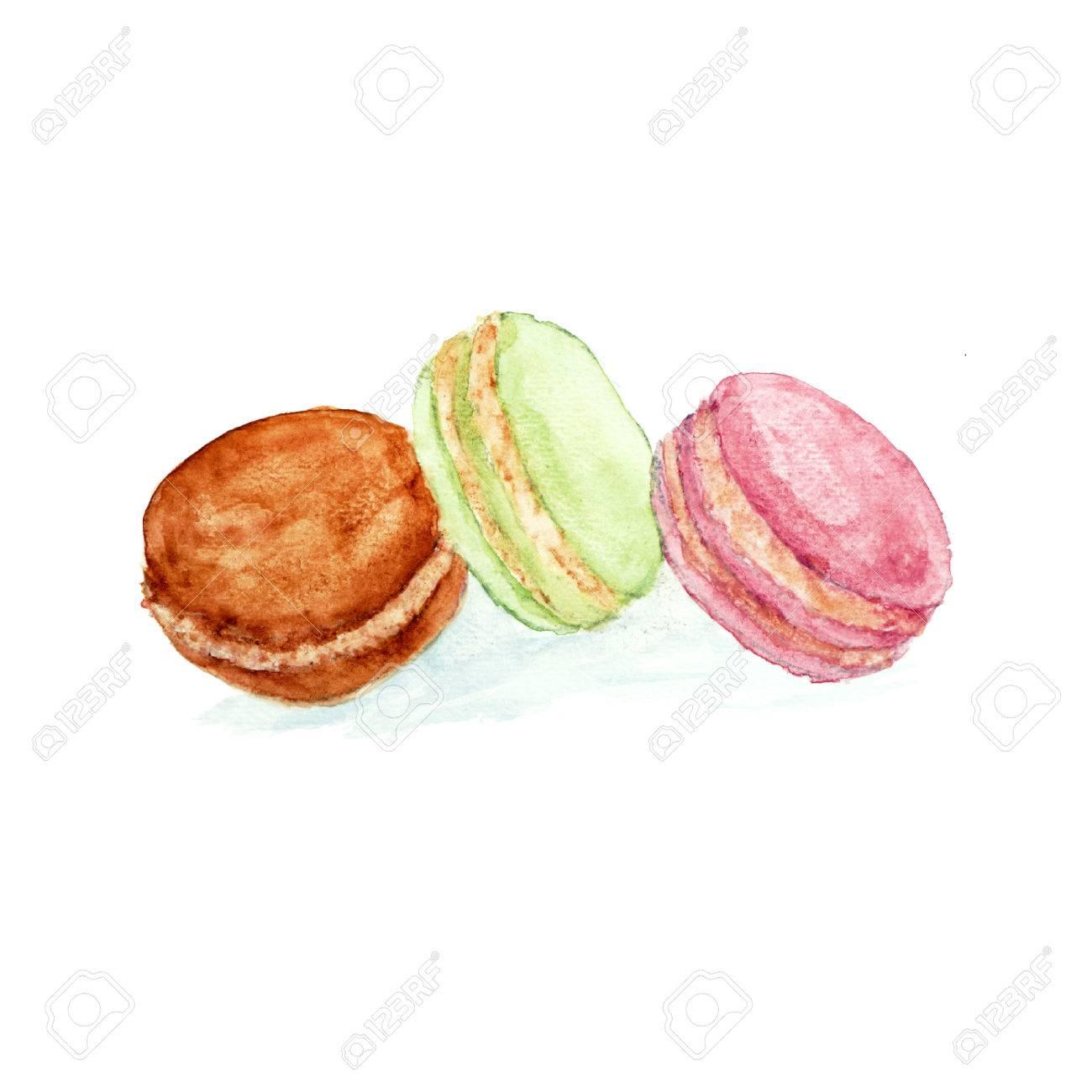 Watercolor sweet dessert fruit berry macaroon set isolated - 45944776