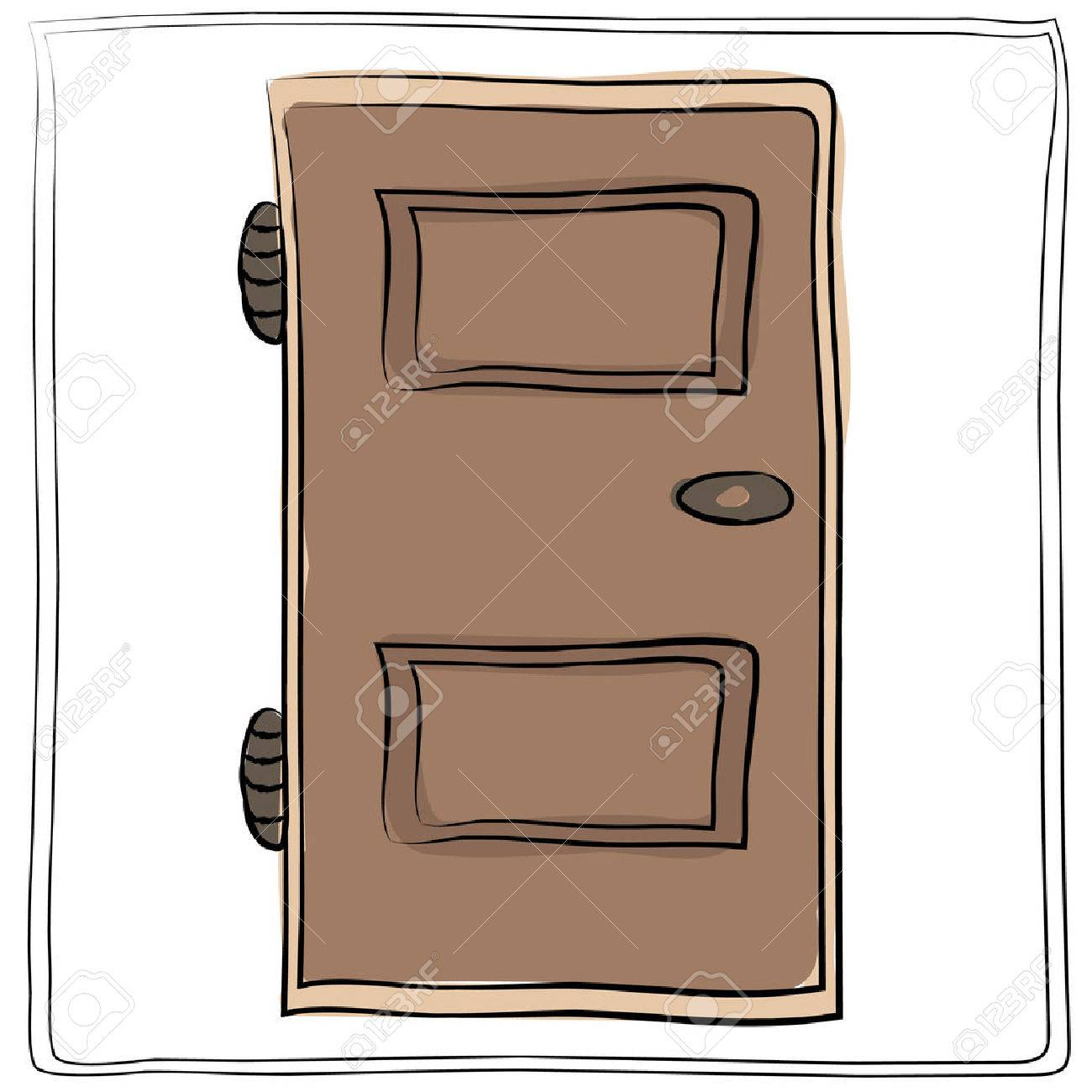 Old Door Icon Isolated Illustration Vector Close Up Wooden