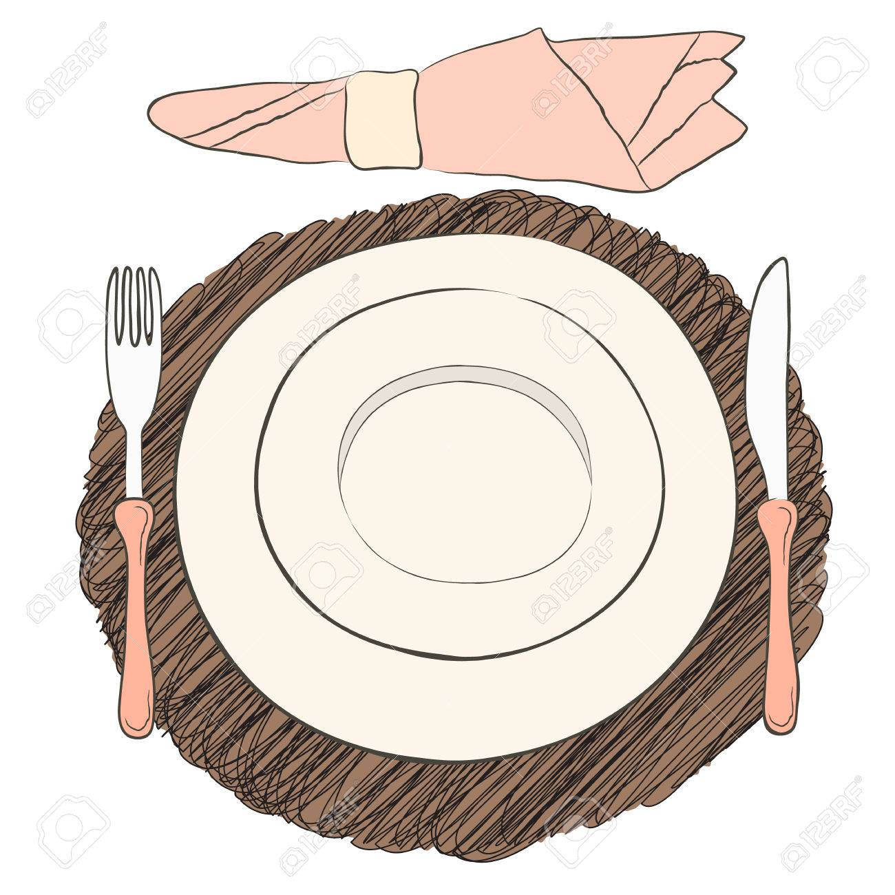 Informal Vector Table Setting. Tableware And Eating Utensils ...
