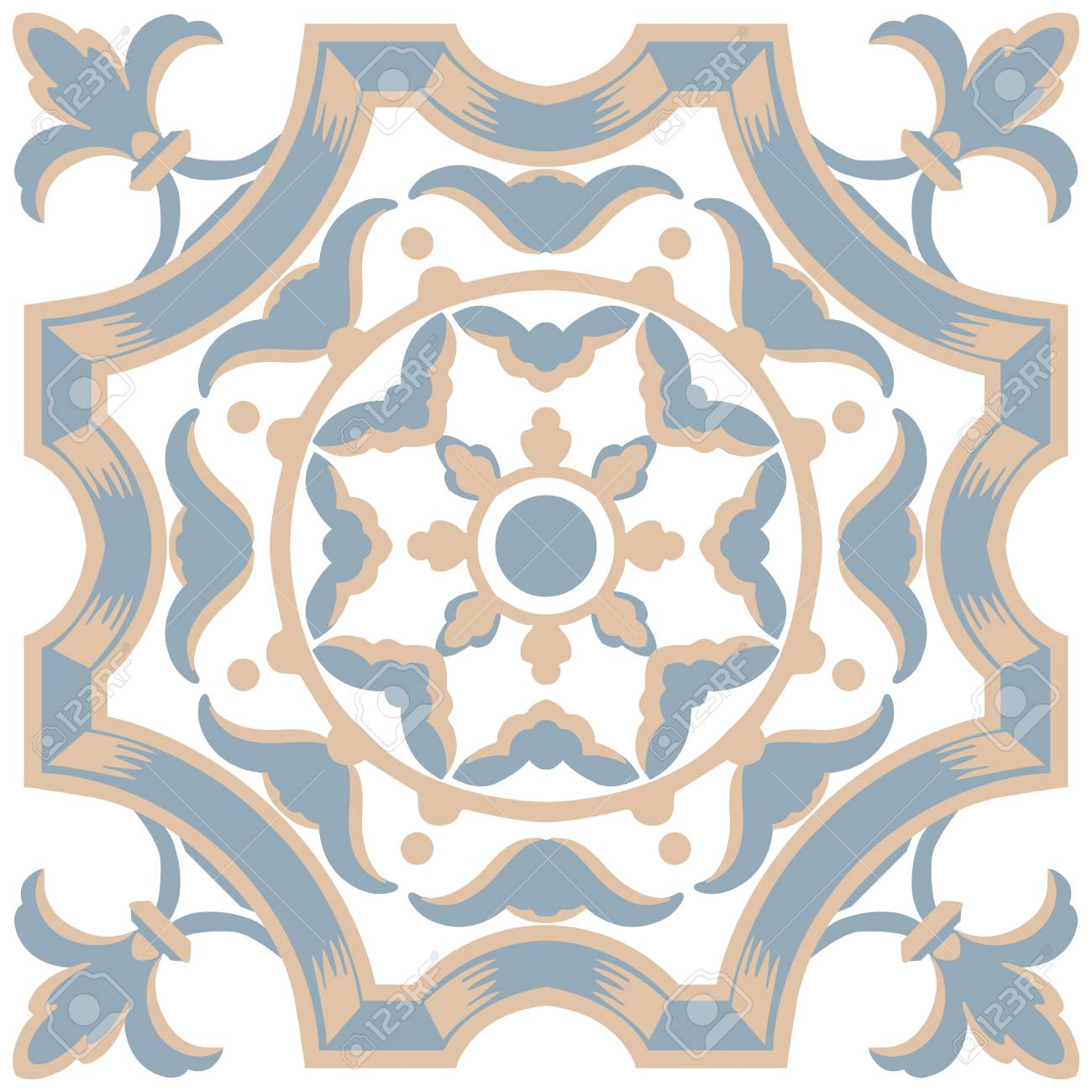 Portuguese tiles seamless pattern. Vintage background - Victorian..