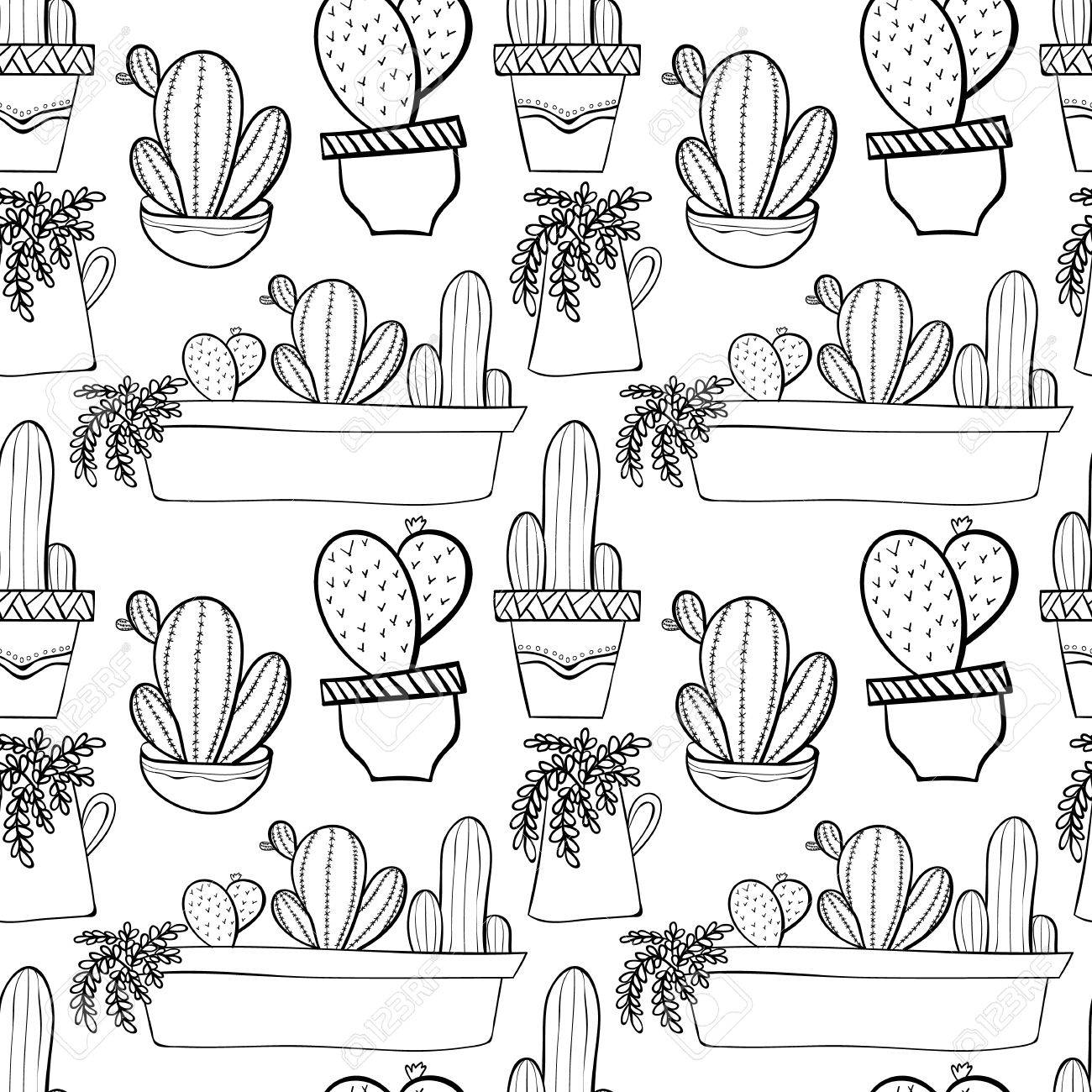 Seamless Background Pattern With Cactus In Pots. Indoor Plants ...