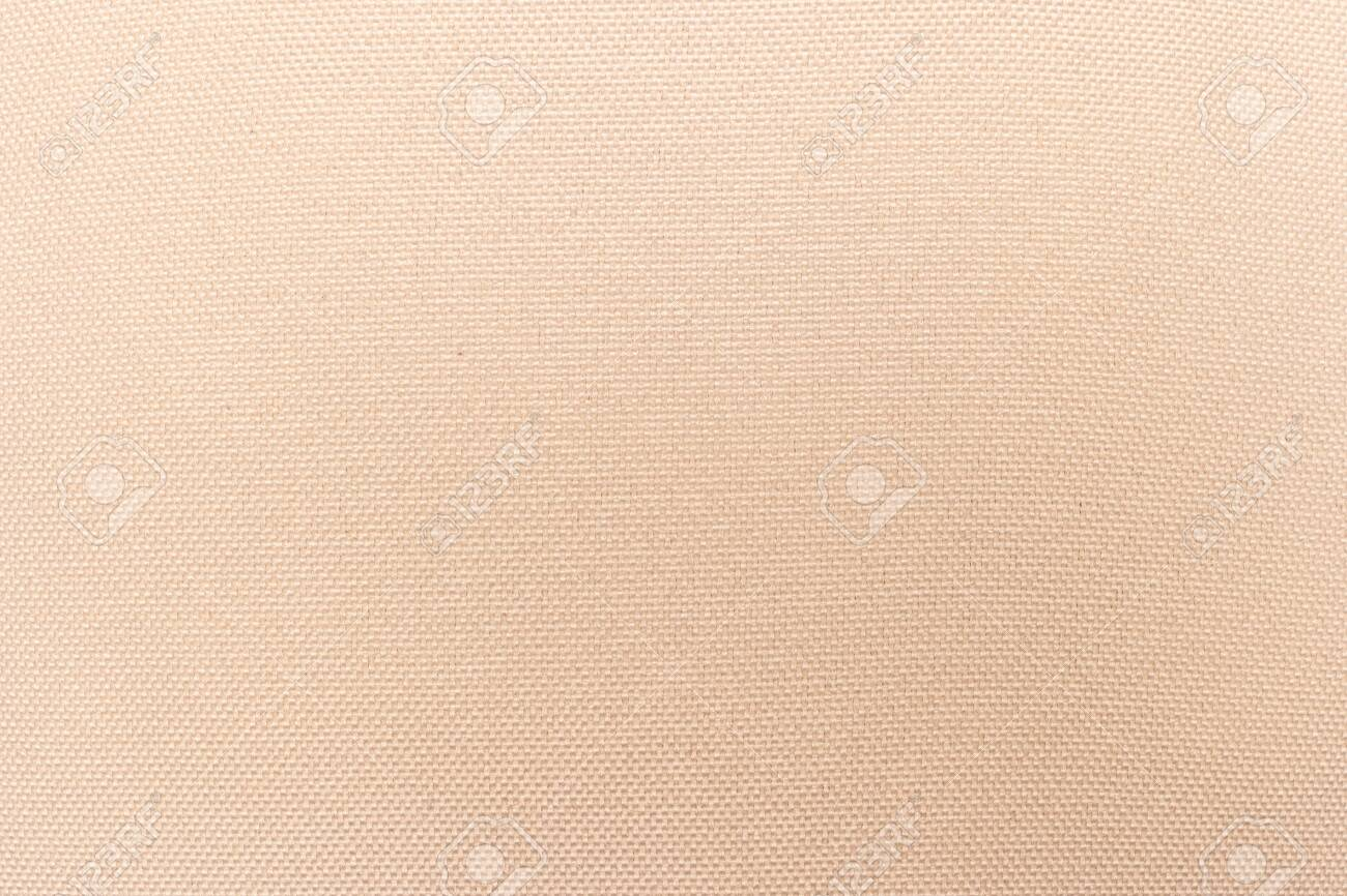 Cream abstract Hessian or sackcloth fabric or hemp sack texture background. Wallpaper of artistic wale linen canvas. Blanket or Curtain of cotton pattern with space for text decoration. Seamless cream - 142275421
