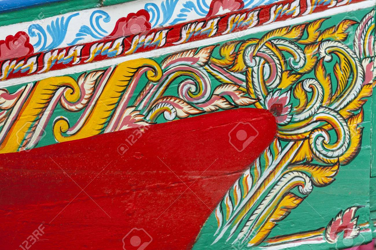 Colorful Pattern Of Traditional Fisherman Boats These Wooden