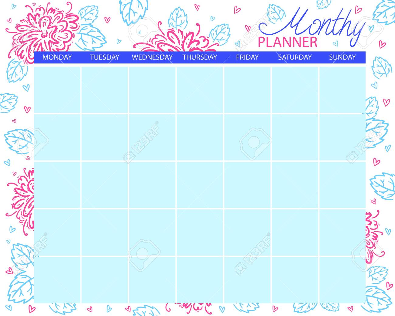 photo regarding Monthly Planning Calendar named Month-to-month planner. Calendar for the thirty day period, developing jobs. For..