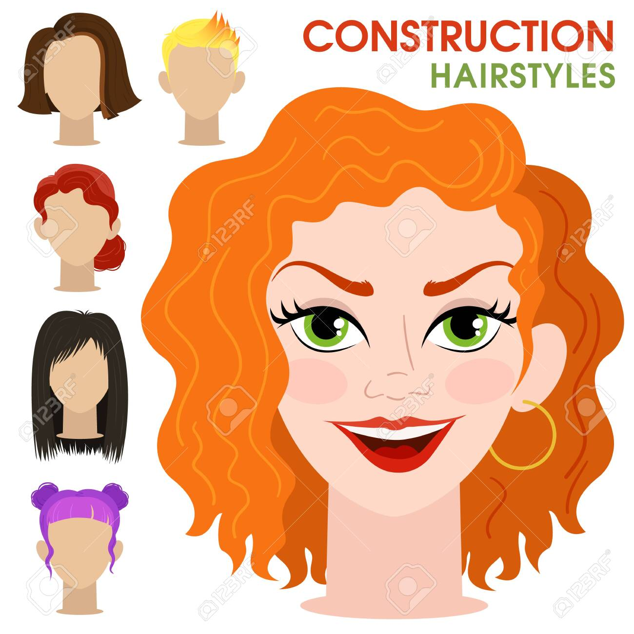 Curly Girl Woman Face Constructor Cartoon Vector Style Creation