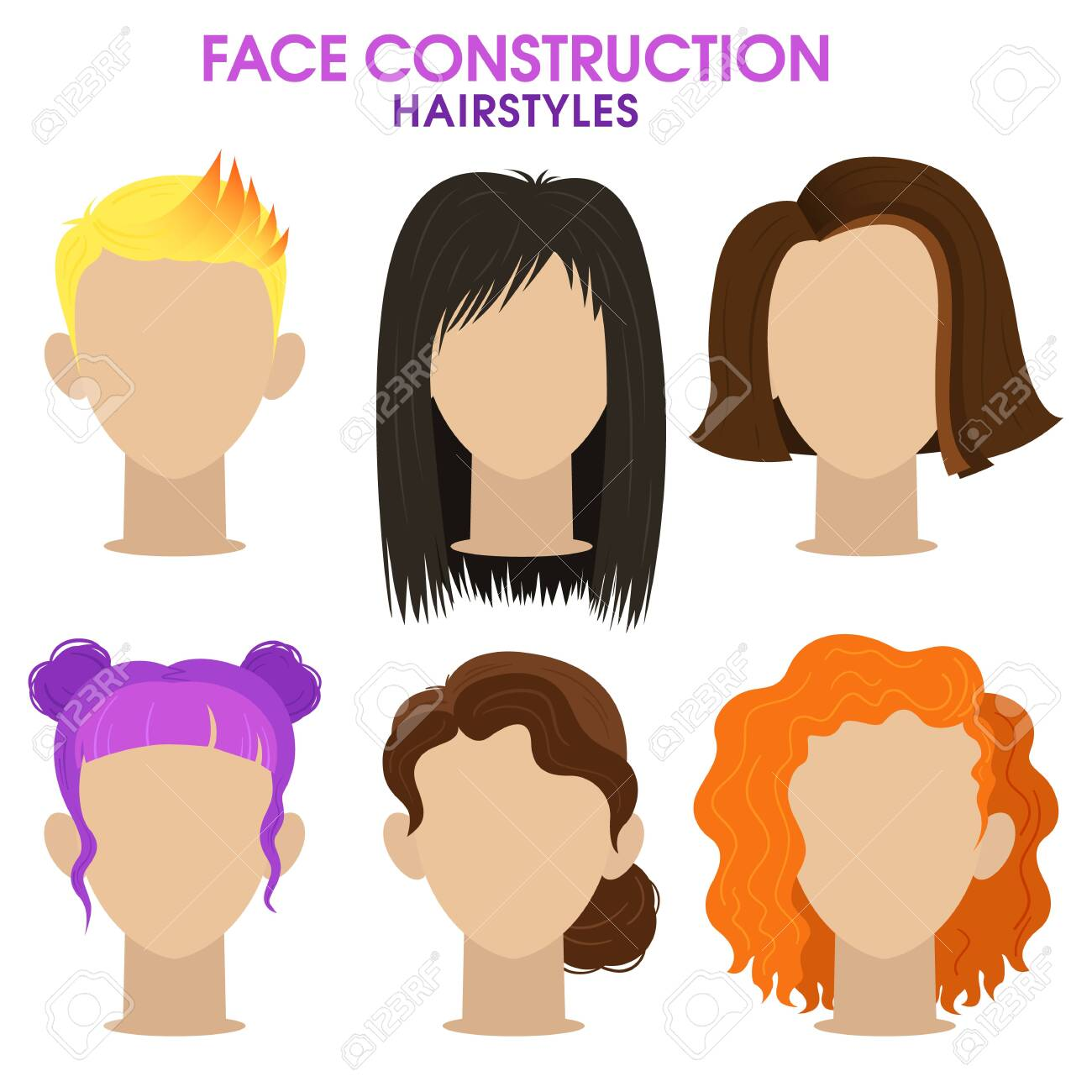 Hairstyle Different Haircuts And Hair Color Woman Face Constructor Royalty Free Cliparts Vectors And Stock Illustration Image 129259301