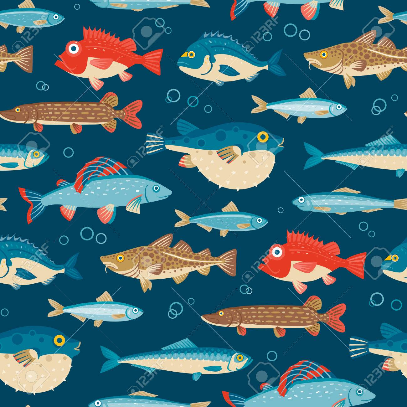 Colorful fish, vector seamless pattern - 56494217