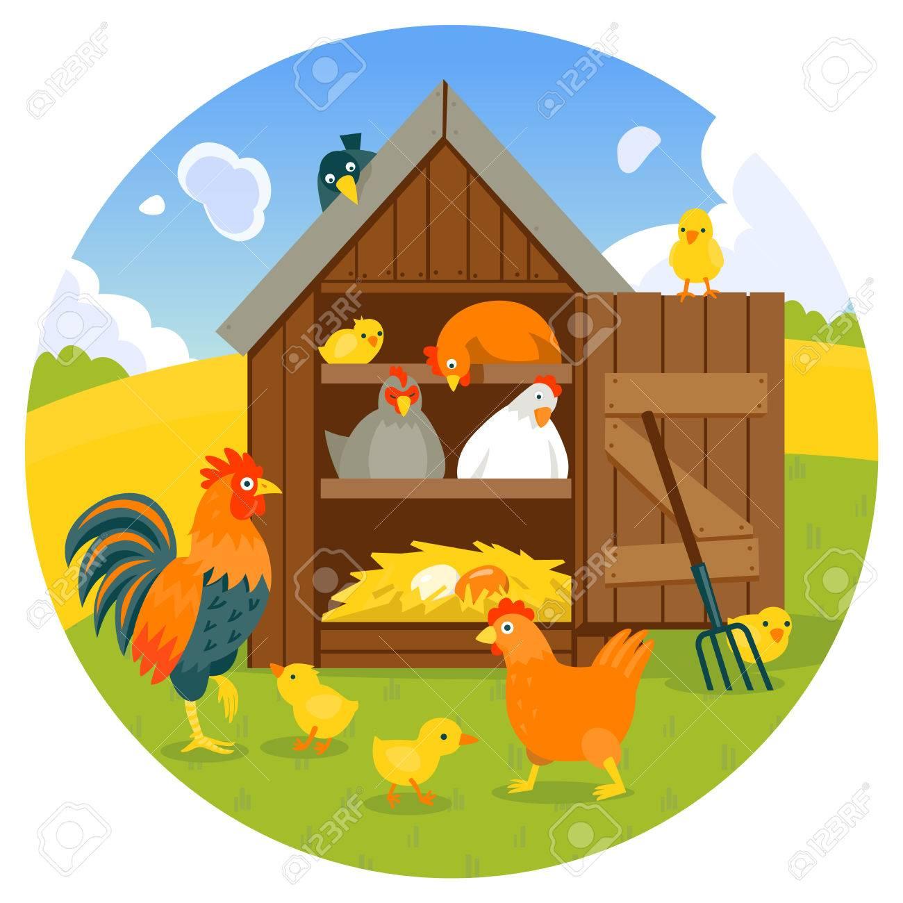 Dessin De Poulailler poulailler avec poules mignons, poussins et coq sur un style de