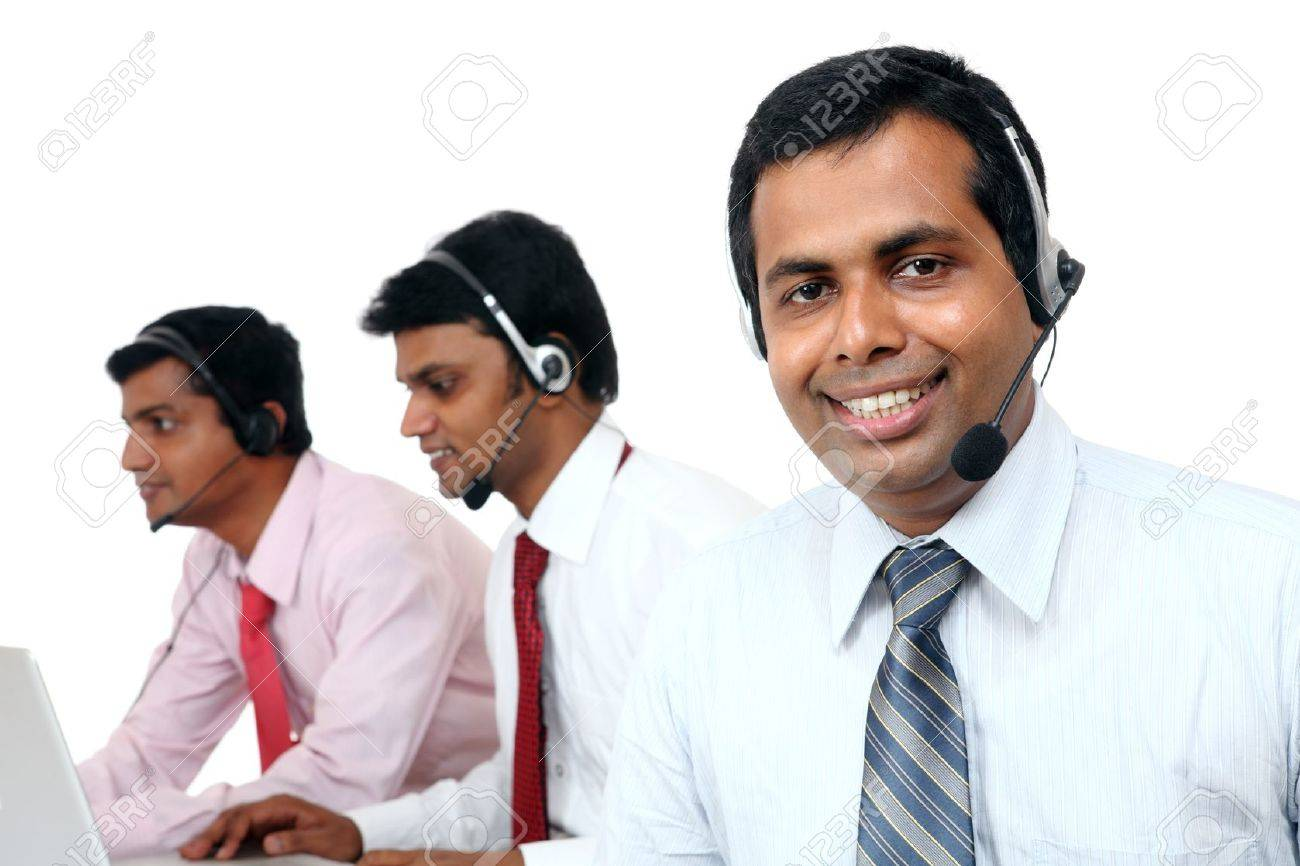 Indian Young People Working In Call Center Isolated On White ...