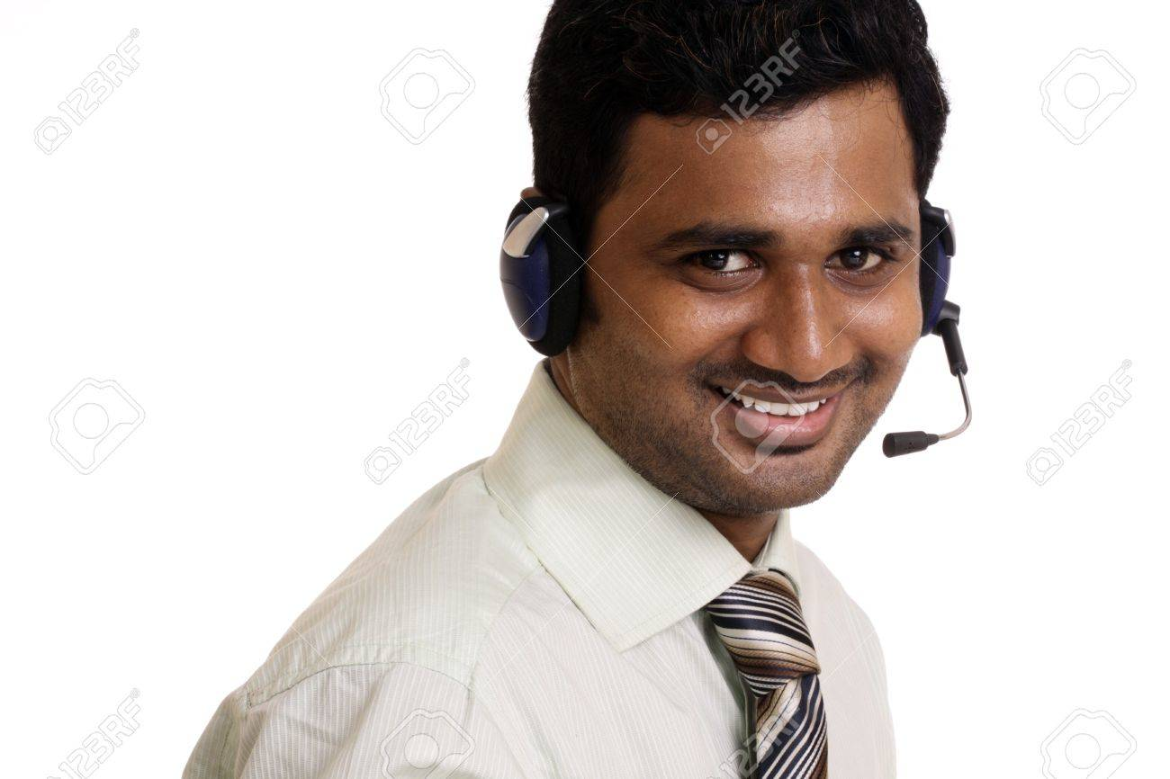 Indian Young Working In Call Center On White Background Stock ...