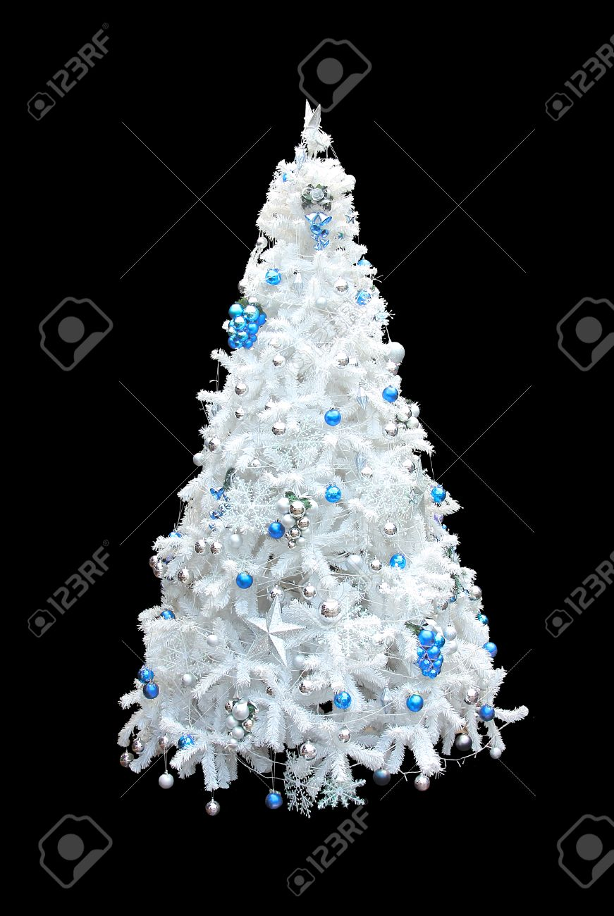 Christmas tree black and silver - A Beautiful White Artificial Christmas Tree With Blue And Silver Spheres Isolated On A Black