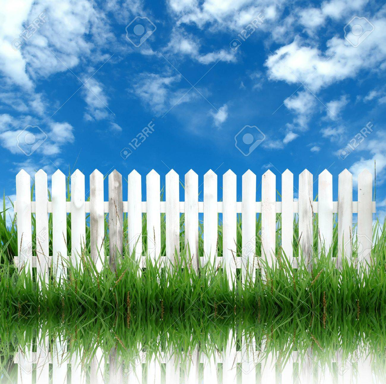 white fence and blue sky Stock Photo - 8393235