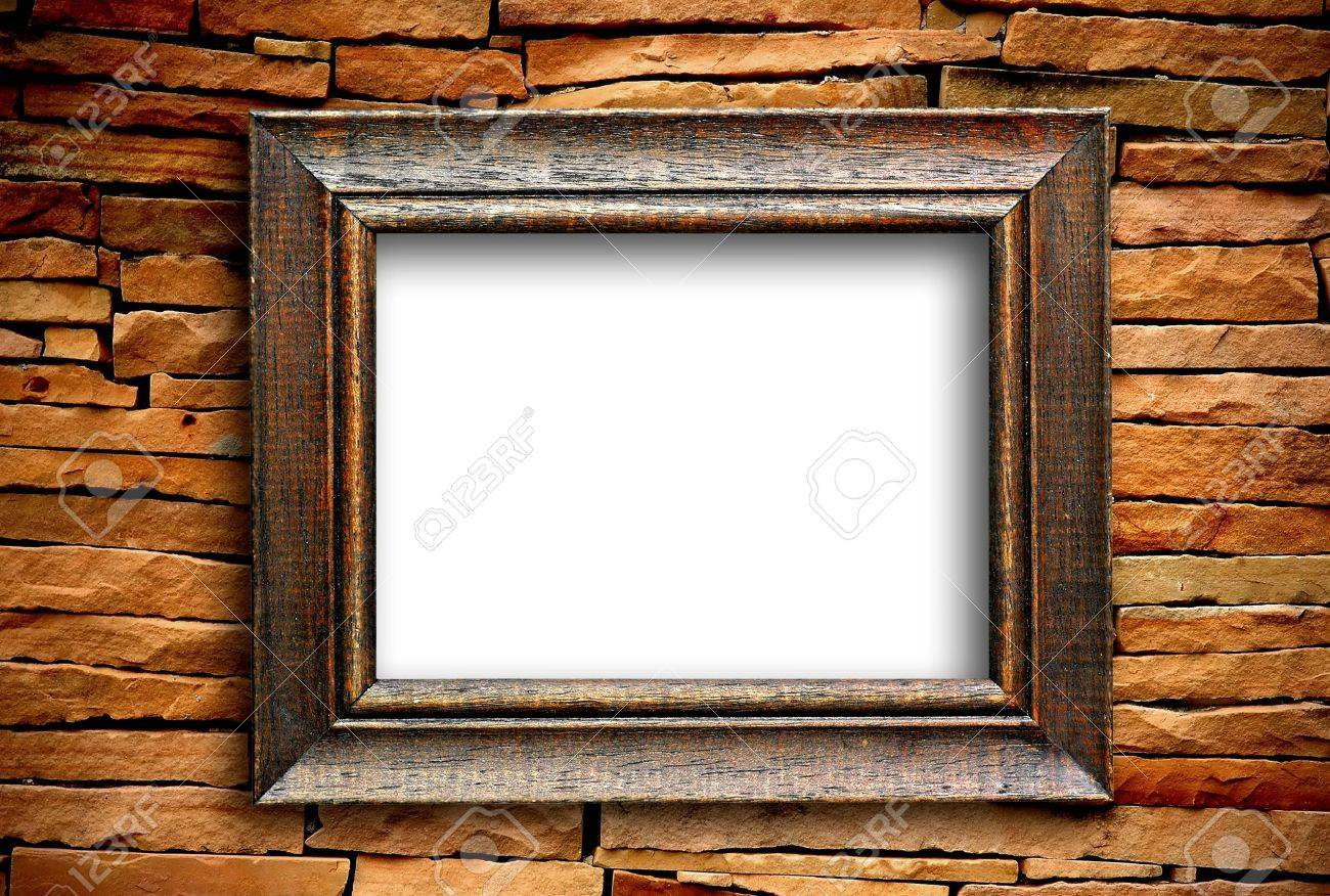Wooden Frame On Brick Wall Stock Photo, Picture And Royalty Free ...