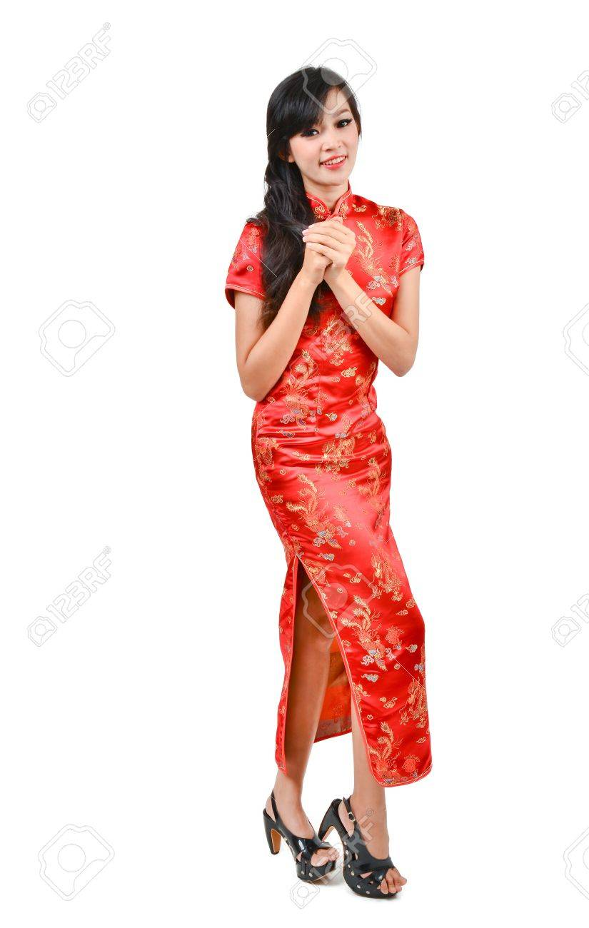 Hübsches Mädchen Mit Cheongsam Wünschen Ihnen Ein Glückliches ...