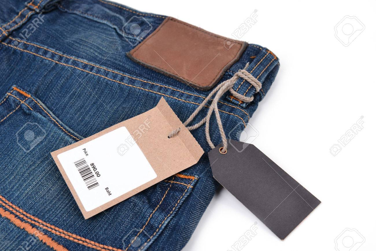 price tag with barcode on jeans textured stock photo picture and