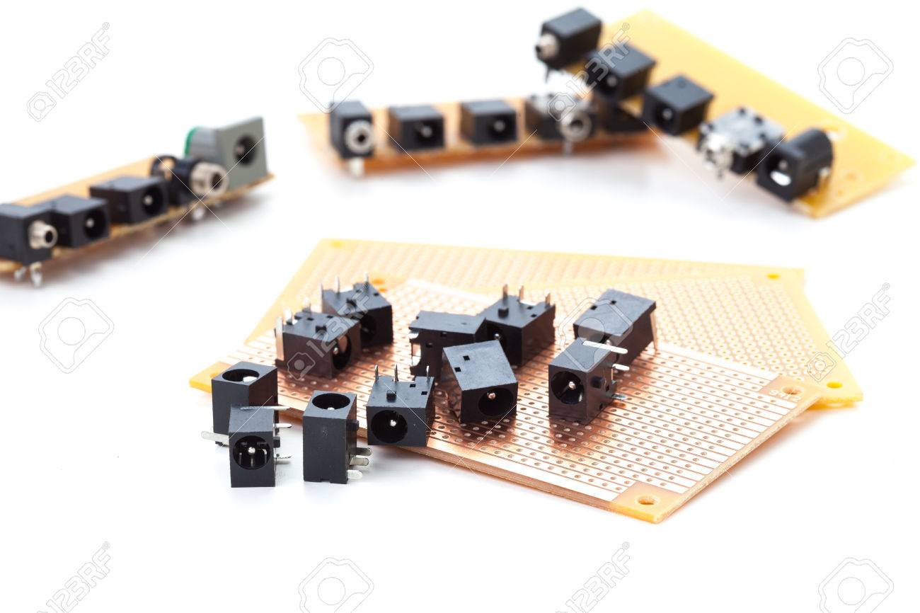 Dc Power Jack And Audio Female Placed On The Pcb Electronic Printed Circuit Board 13 Royalty Free Stock Photos Image