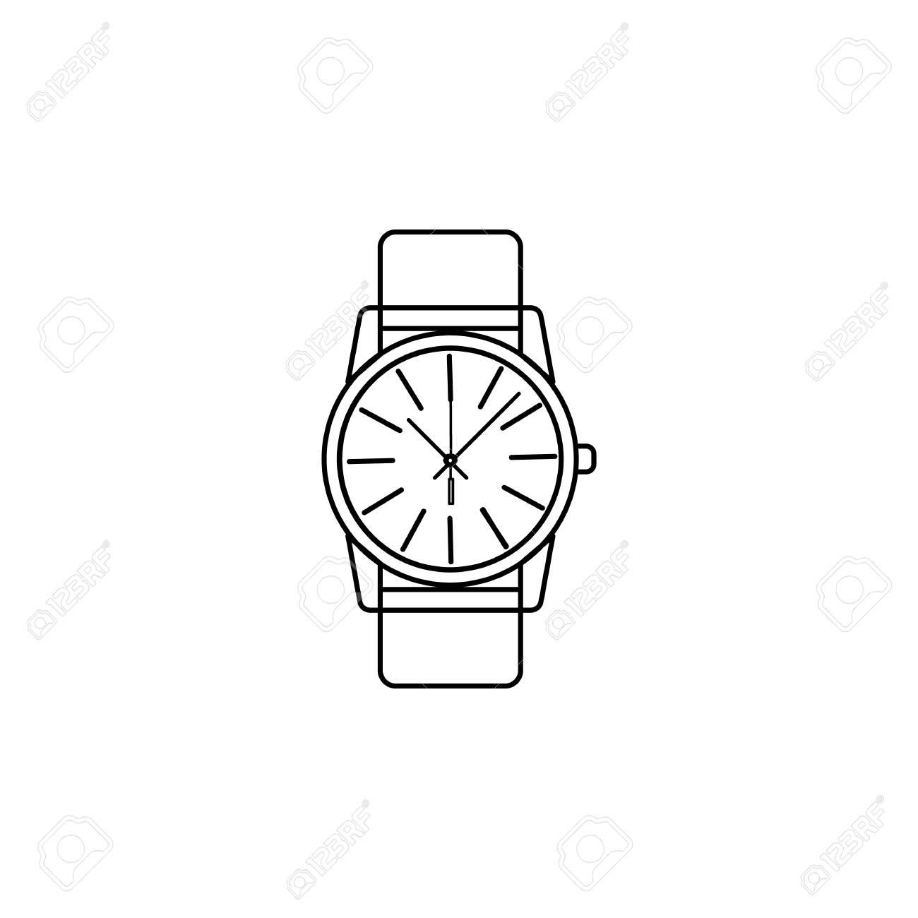Classic Analog Men Wrist Watch line icon  Clock Icon  Premium
