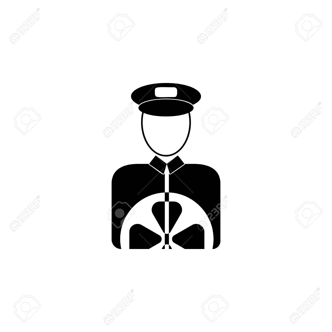 Chauffeur's avatar icon in black and white Illustration. - 96898726