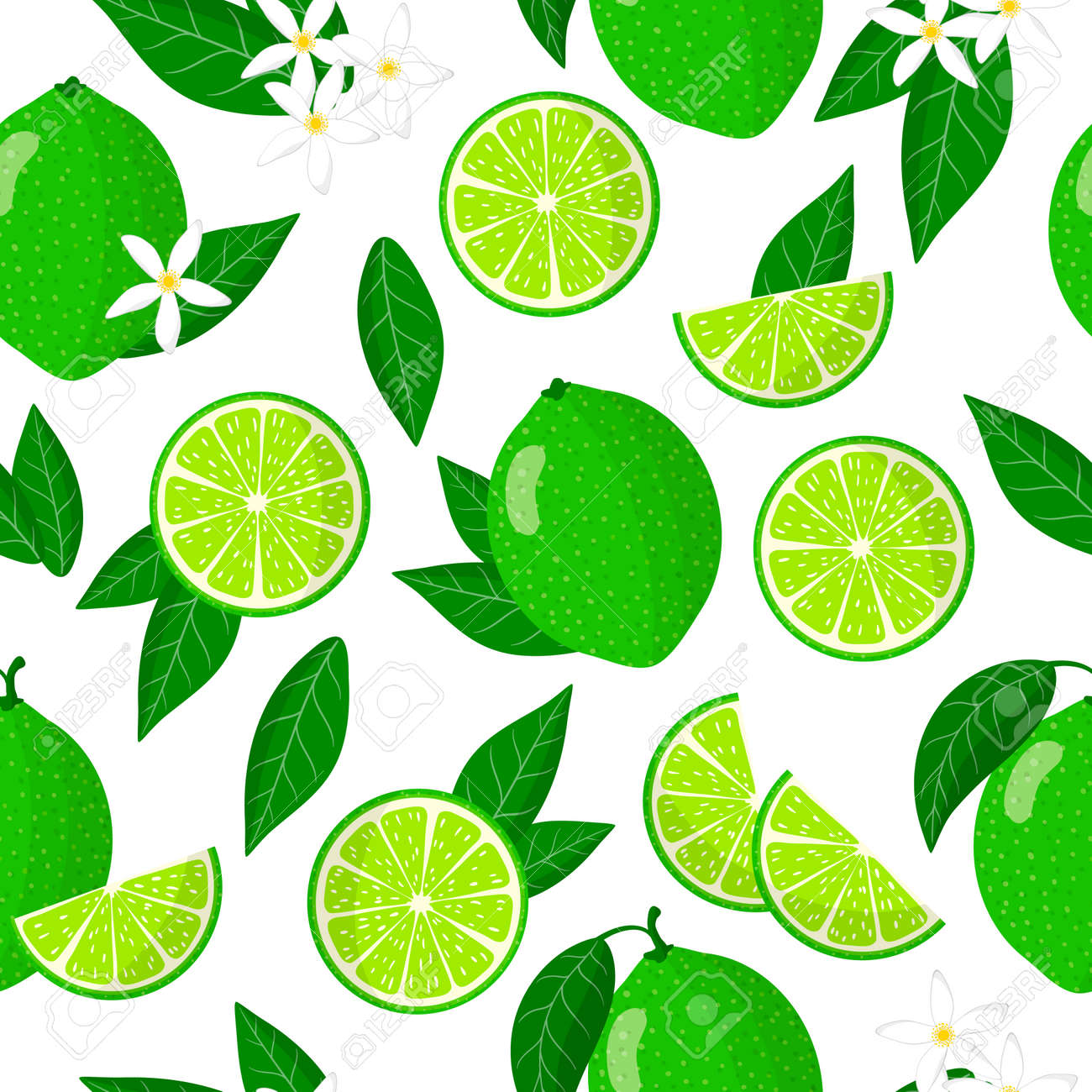 Vector cartoon seamless pattern with Citrus aurantiifolia or Key lime exotic fruits, flowers and leafs on white background for web, print, cloth texture or wallpaper - 156023244
