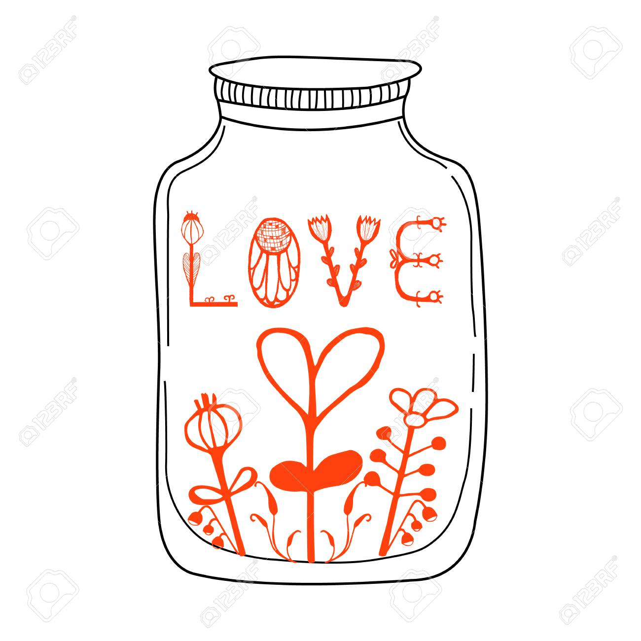 Vector Vector Il Ration With Jar Hearts And Lettering Words Love Cute And Romantic Background With Text Vintage Love Concept Typography Poster