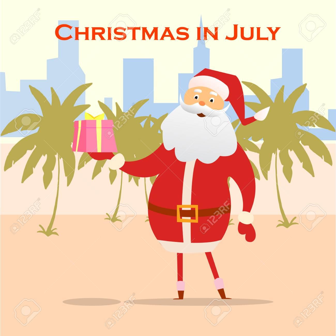 2855d53643 Summer Santa Claus on the beach. Vector cute cartoon character. Christmas  in July Sale