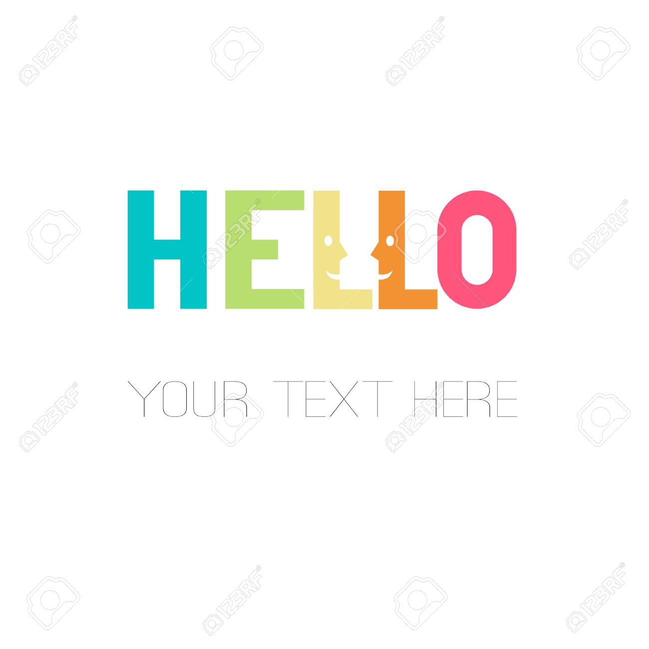hello smooth rectangular rainbow lettering design with smiling