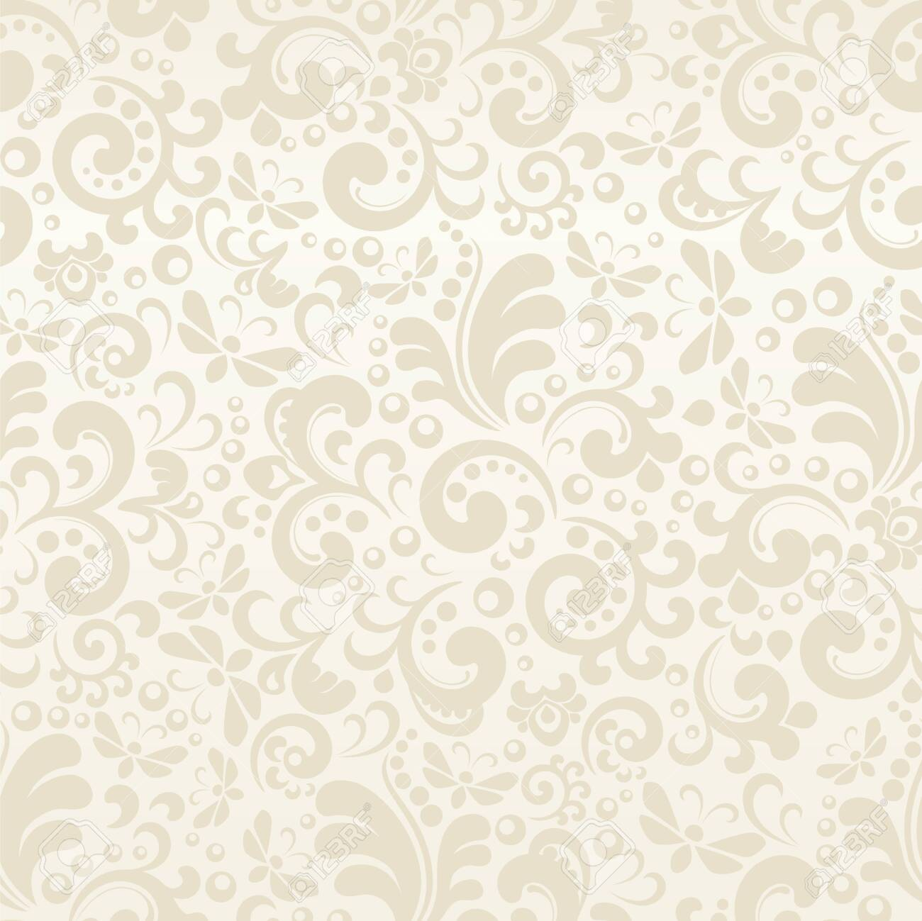 Seamless cream abstract pattern with plant elements - 137353214