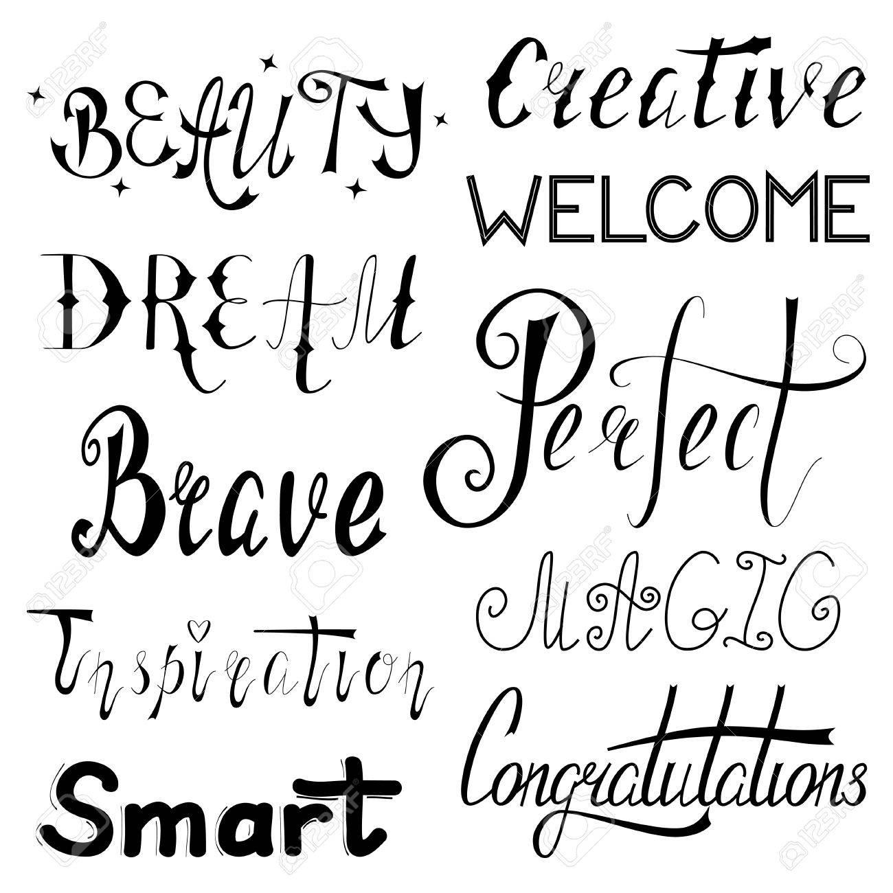 Handschriftlicher Satz Inspirierende Und Motivierende Wörter Gemacht