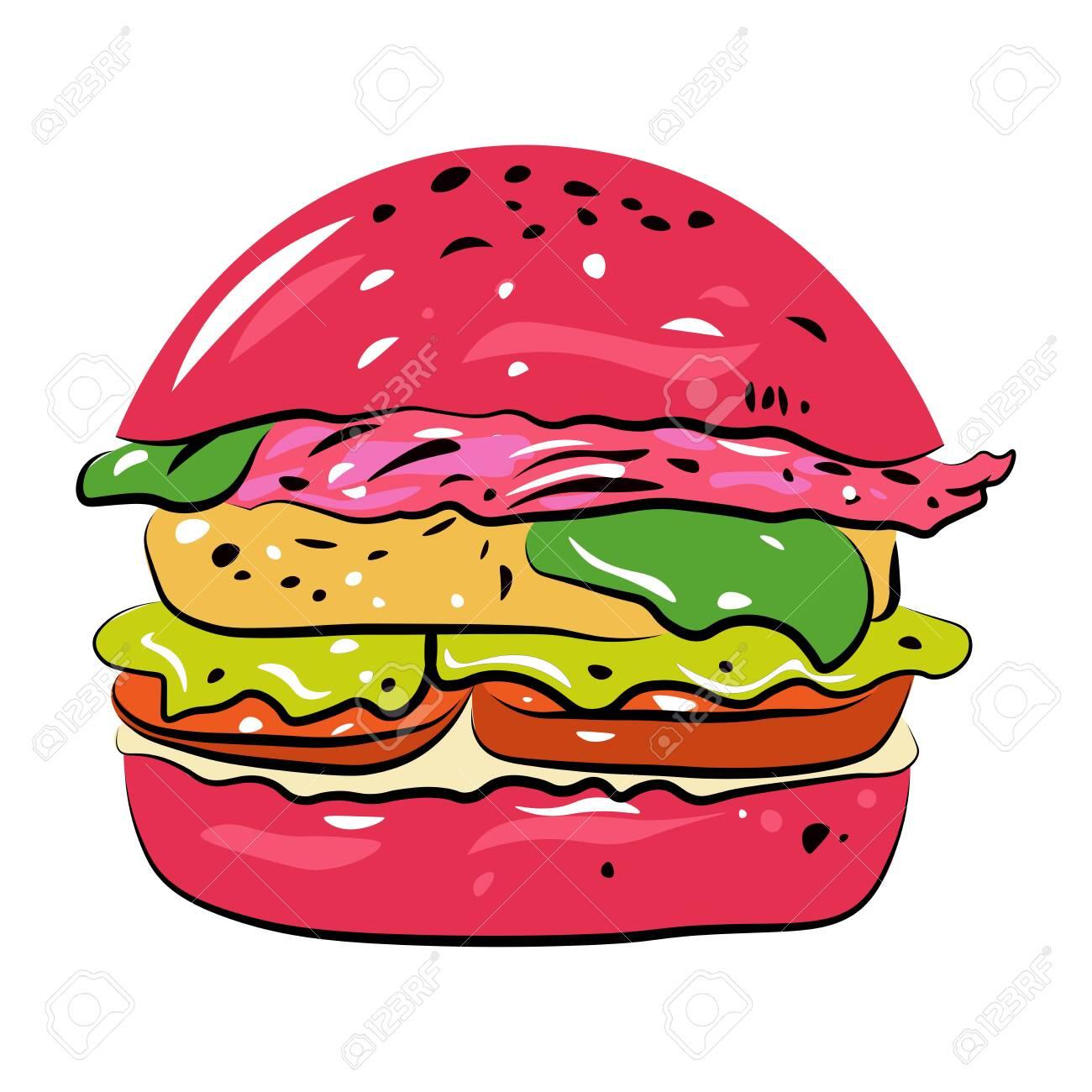 Hamburger on a white background. - 143507286