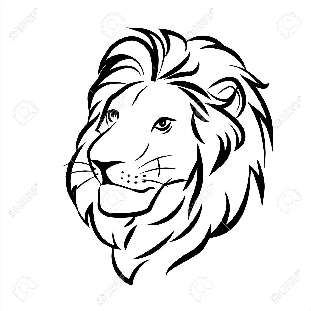 lion head in color logo on white background - 144853790