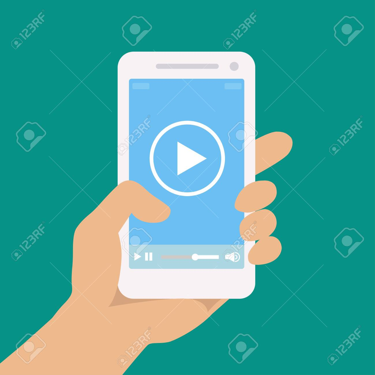 Picture of a hand holding a phone. Vector illustration. - 151352620