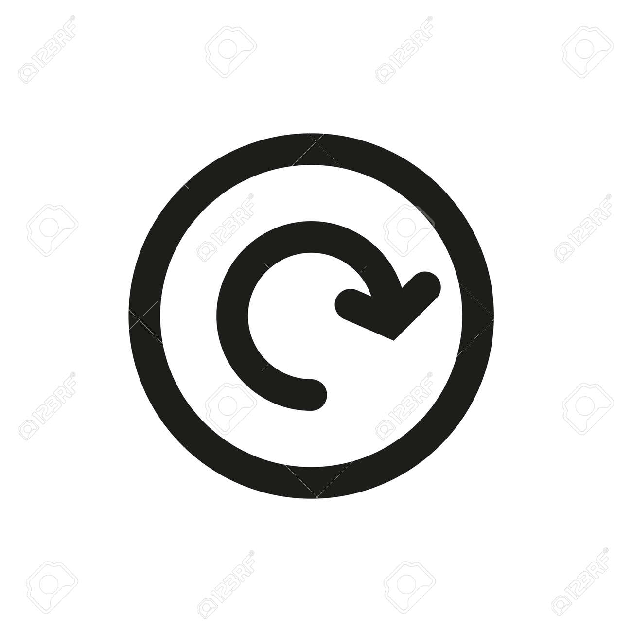 Arrow icon in a circle on a white background. - 158067537