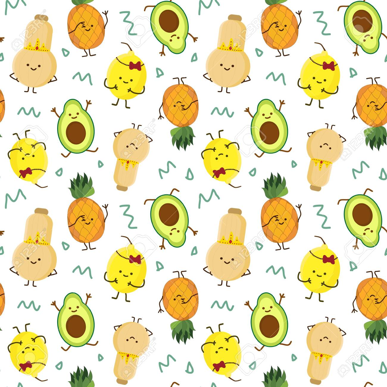 kawaii fruits seamless pattern set with face expression on dark purple color background vector illustration. Concept of joy and happiness. - 140633884