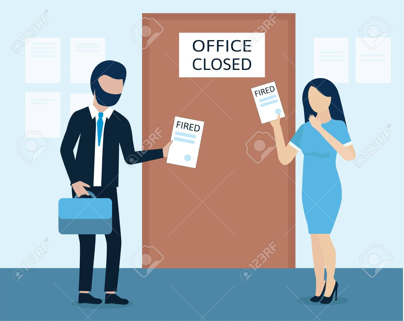 Man and woman are fired. dismissal, severance, termination in case of coronavirus or virus COVID-19. - 146683152