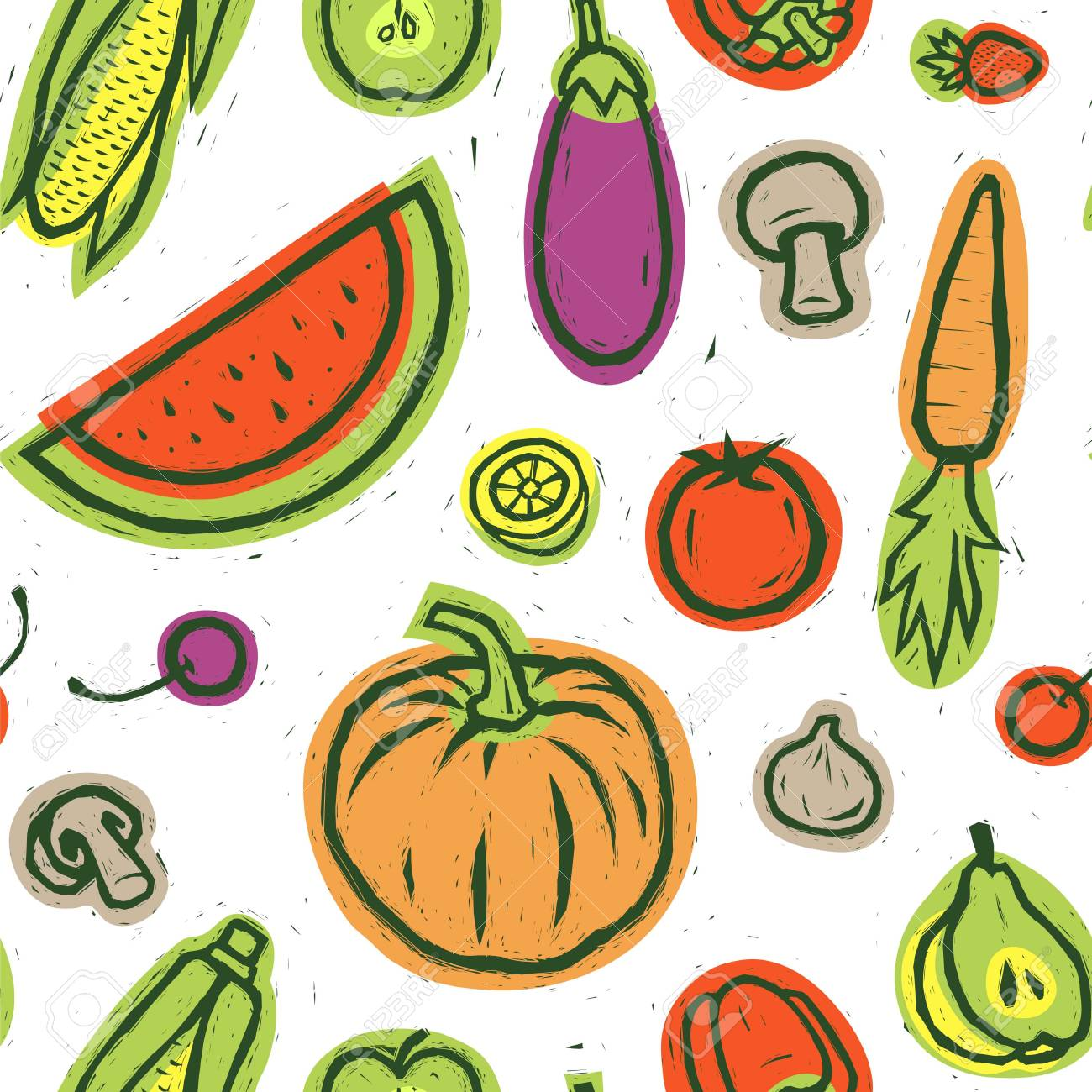 Colorful Vegetables And Fruits Vector Illustration Food Print