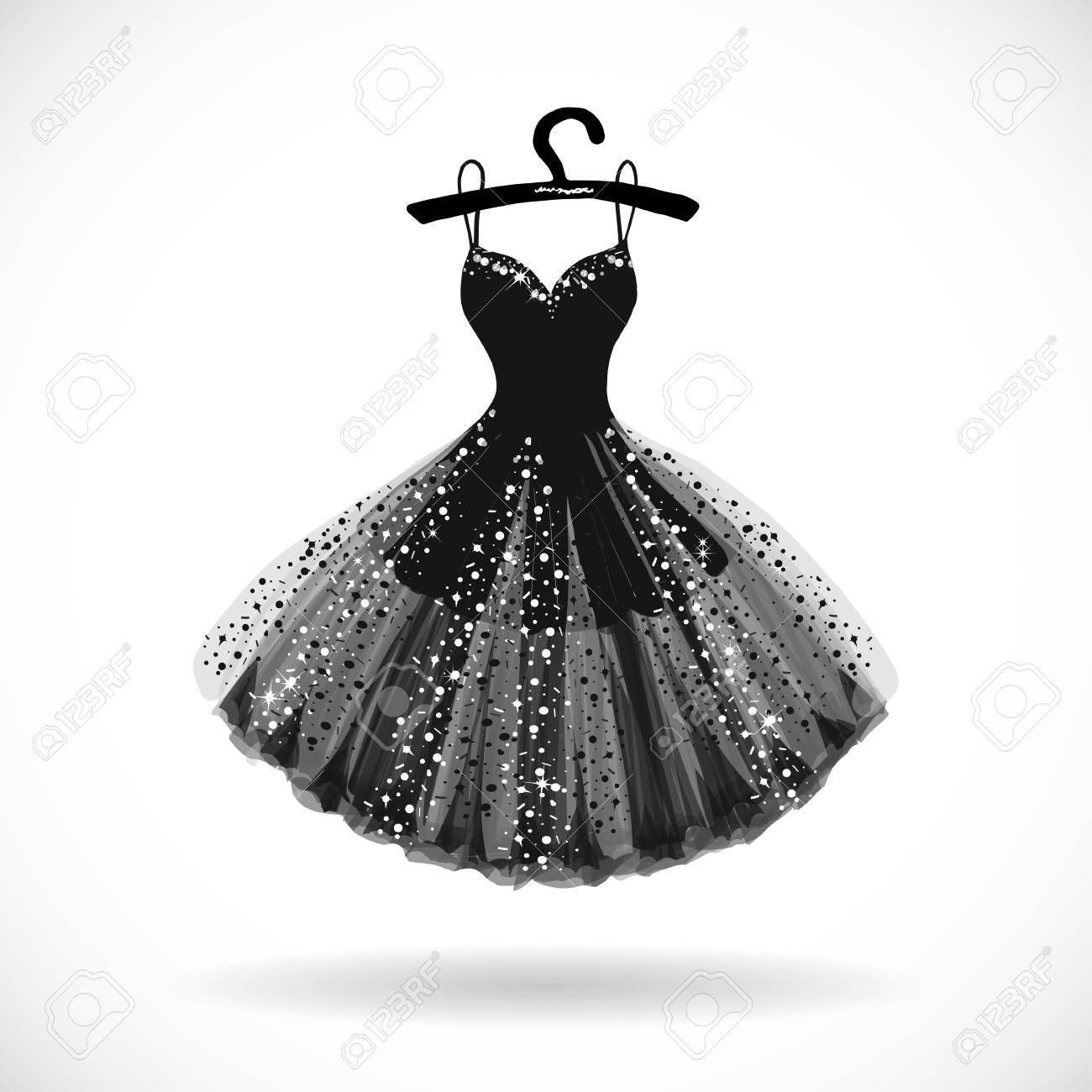 Shiny Little black dress hand drawn vector illustration. - 95574861