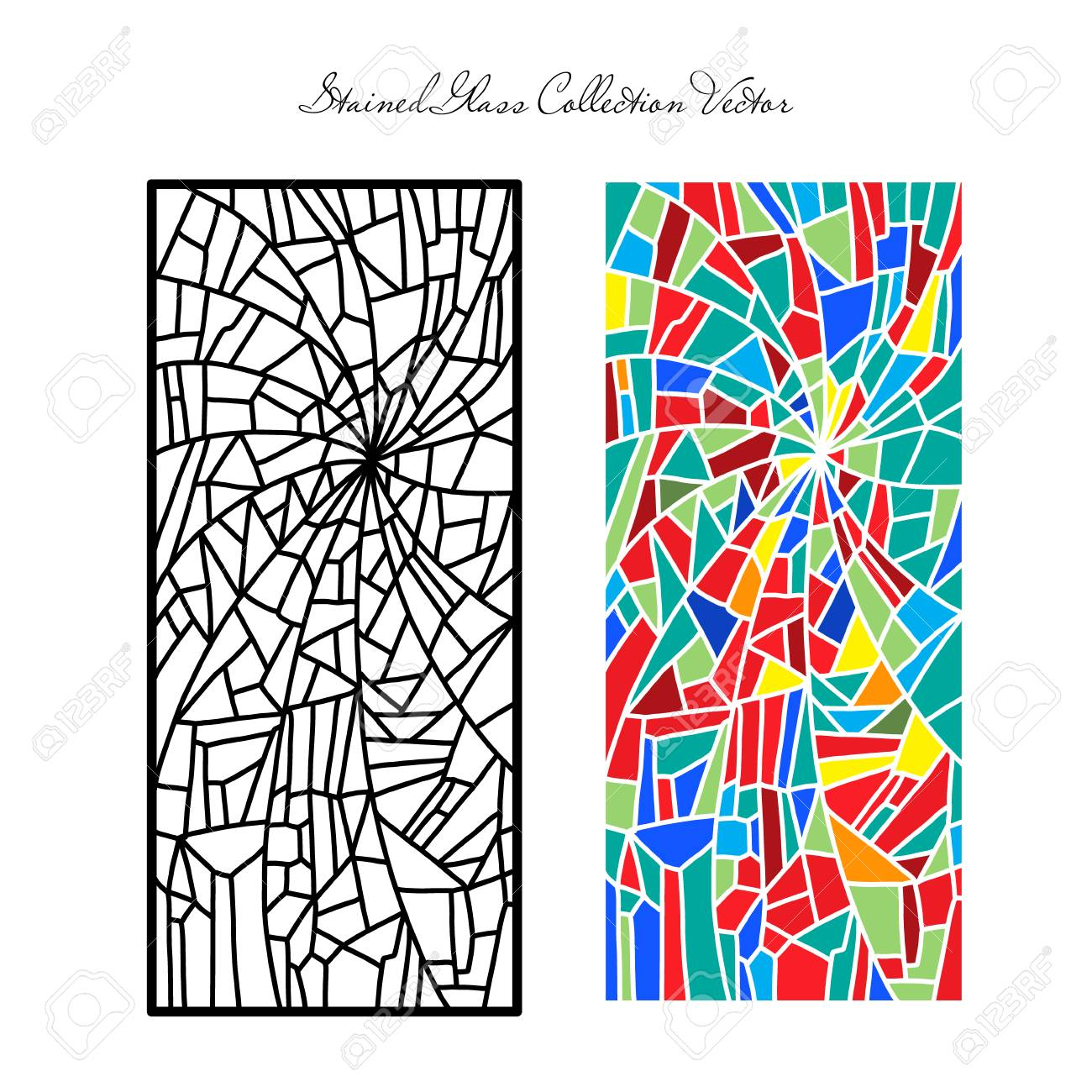 Template stained glass decorative pattern colored mosaic - 95558985