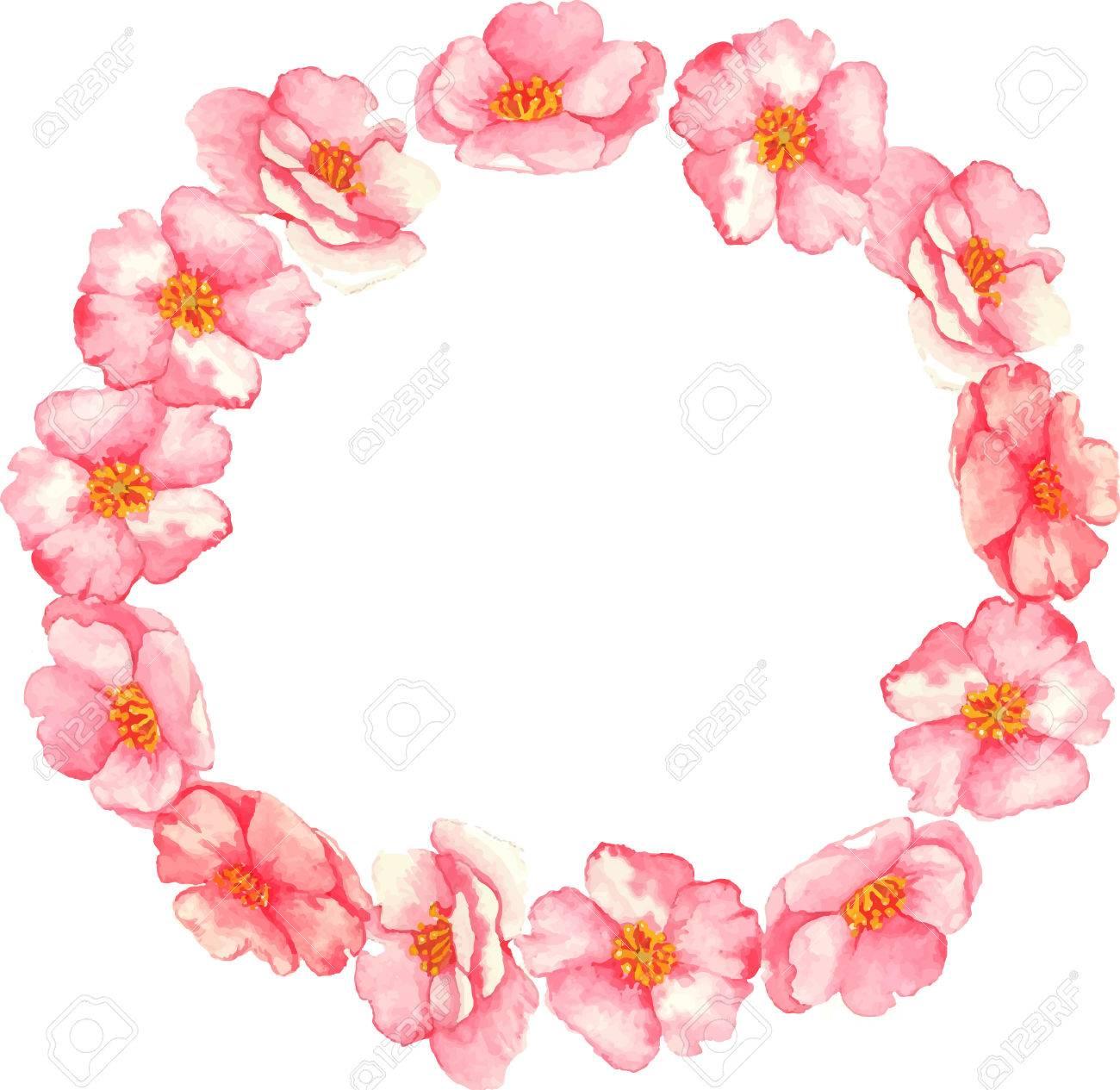 aquarelle couronne de fleurs roses sur la brier fond blanc banque dimages 34607351