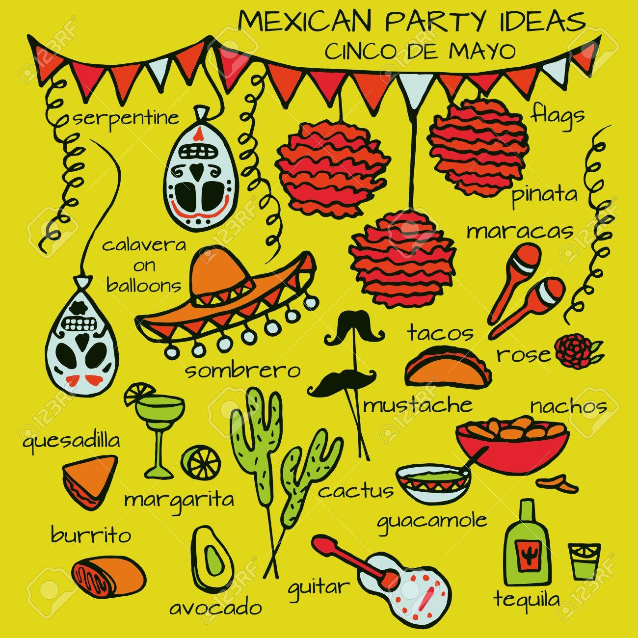 Doodle Set Of Mexican Party Ideas Cinco De Mayo Elements Mexico