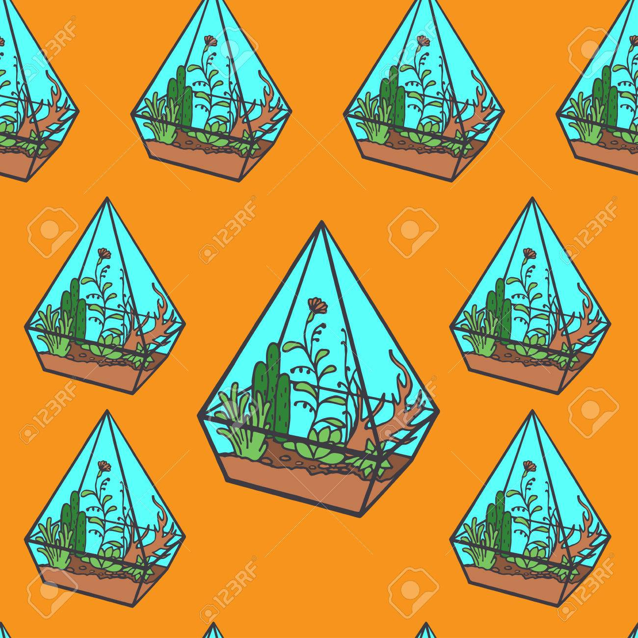 Vector Glass Polygonal Terrarium With Succulent Plants Grass Stock Photo Picture And Royalty Free Image Image 48290711